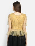 Brocade and Net Sequins Embroidered Peplum Top