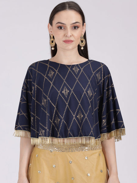 Crepe Hand Block Printed Cape Top