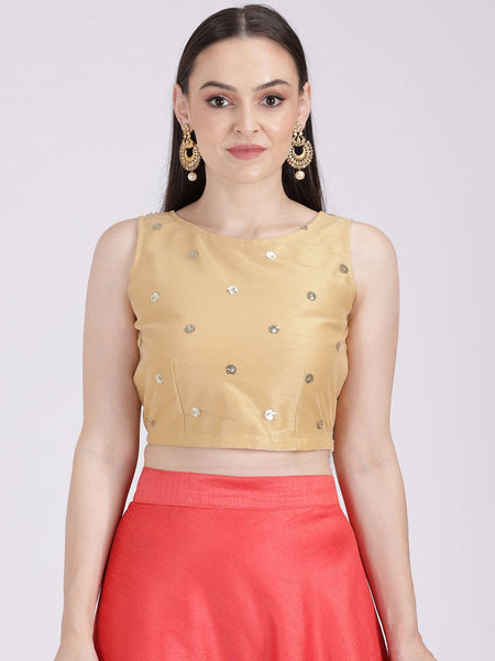 Net Sequin Embroidered Crop Top