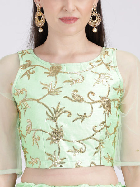 Dupion Embroidered Bell Sleeves Crop Top