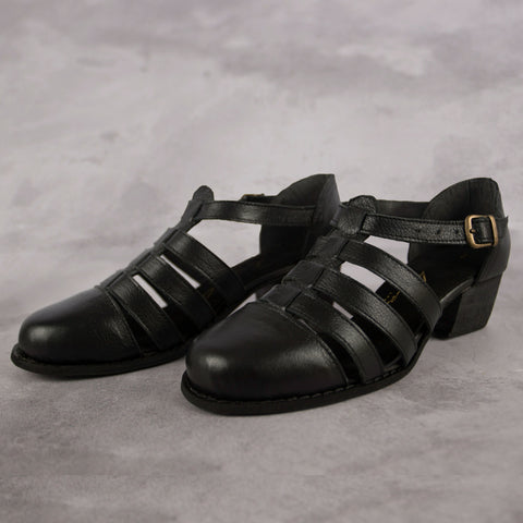 The Jo Sandal - Black - Kaali Leather Apparel