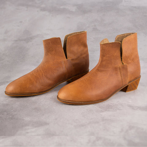 Kirsty Bootie - Tan - Kaali Leather Apparel