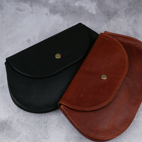 Rounded Clutch - Black - Kaali Leather Apparel