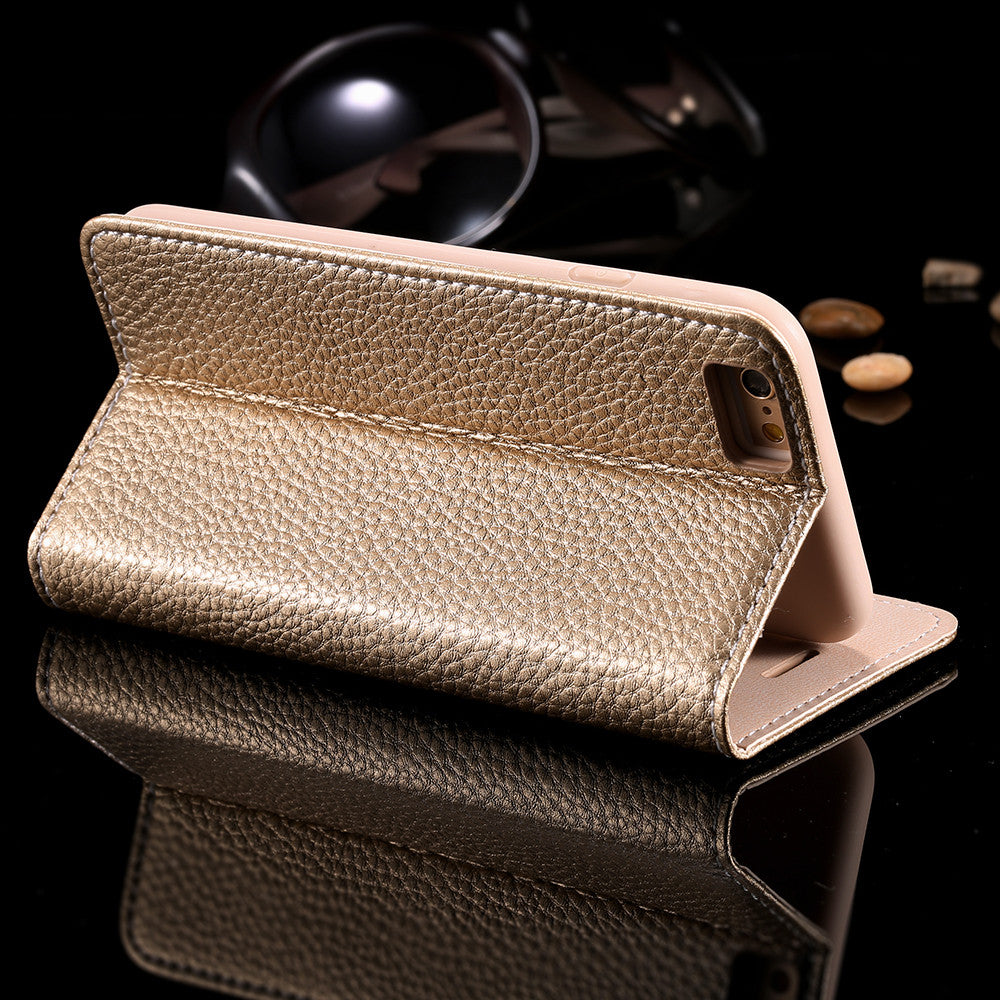 Luxury Flip Leather Metal Logo Stand Wallet Bag Cover