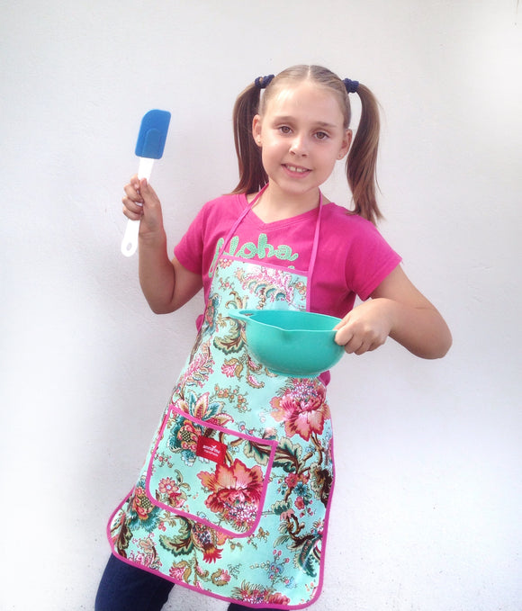 Blue Floral Kids Apron