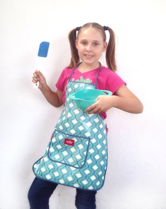 Blue Geometric Kids Apron