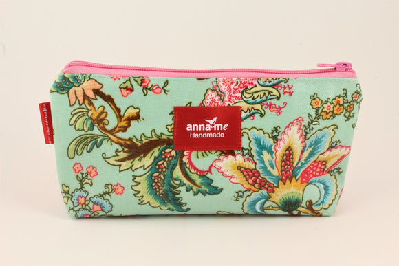 Blue Floral Makeup Bag - Small