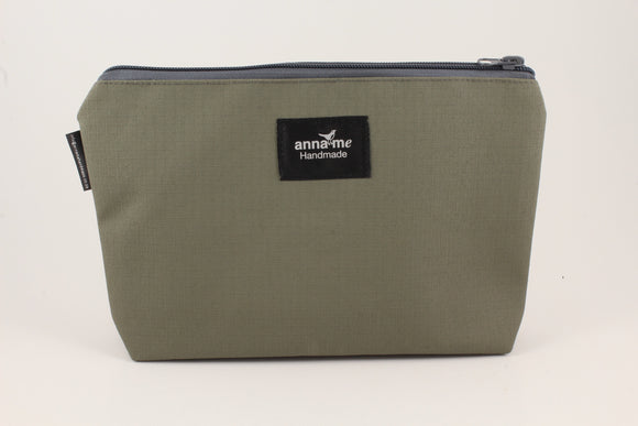 Ripstop Khaki Makeup Bag - Large