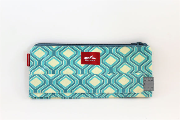 Blue Geometric Double Pencil Bag