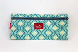 Blue Geometric Single Pencil Bag