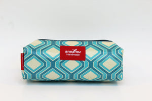 Blue Geometric Box Pencil Bag