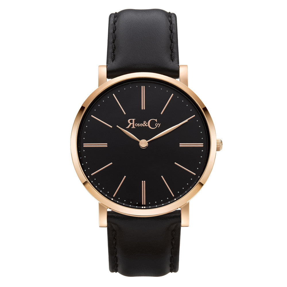 Pinnacle Ultra Slim 40mm Rose Gold | Black Leather | Black Dial Watch