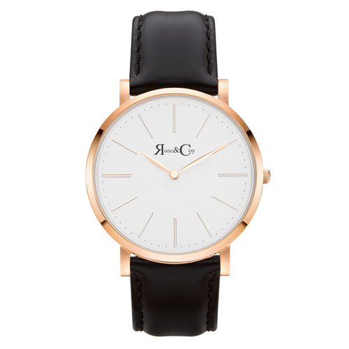 Pinnacle Ultra Slim 40mm Rose Gold | Black Leather Watch
