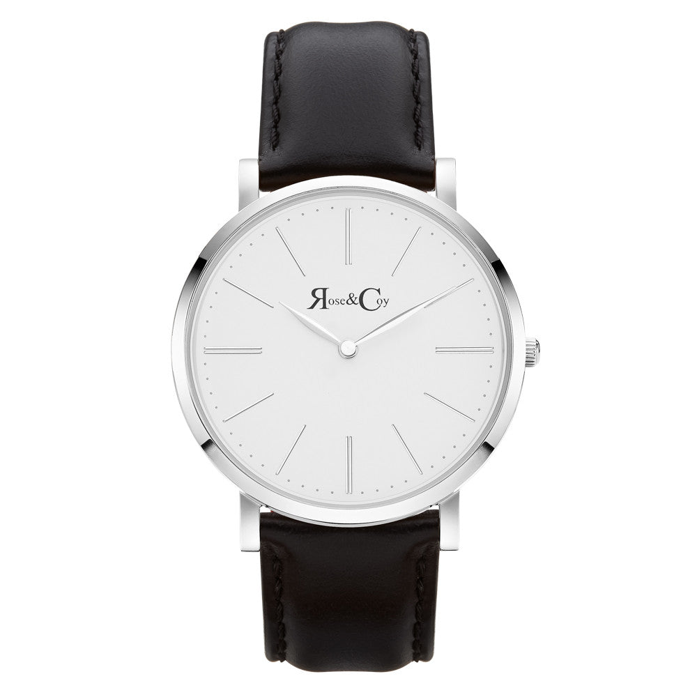 Pinnacle Ultra Slim 40mm Silver | Black Leather Watch