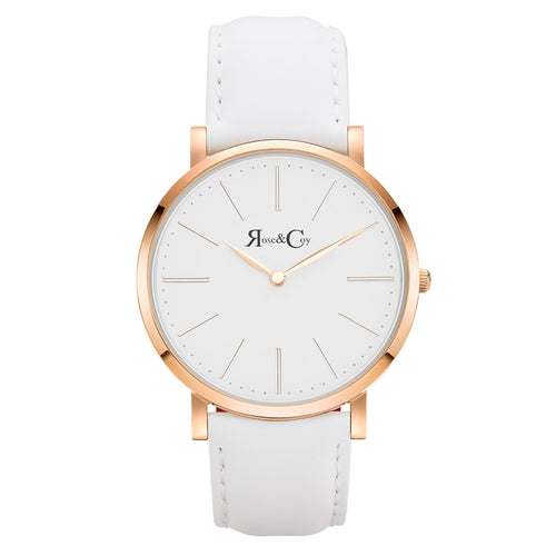Pinnacle Ultra Slim 40mm Rose Gold | White Leather Watch