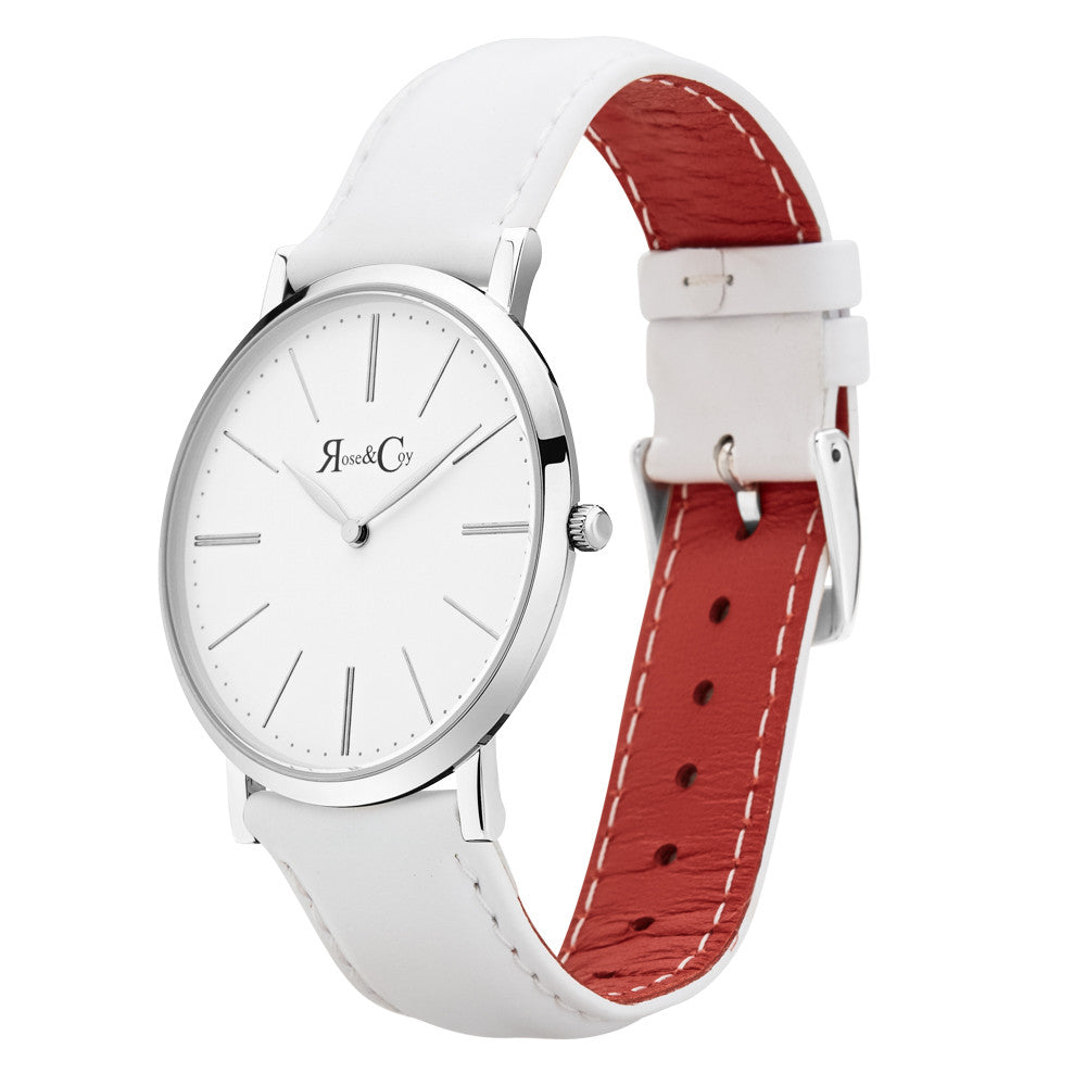 Pinnacle Ultra Slim 40mm Silver | White Leather Watch