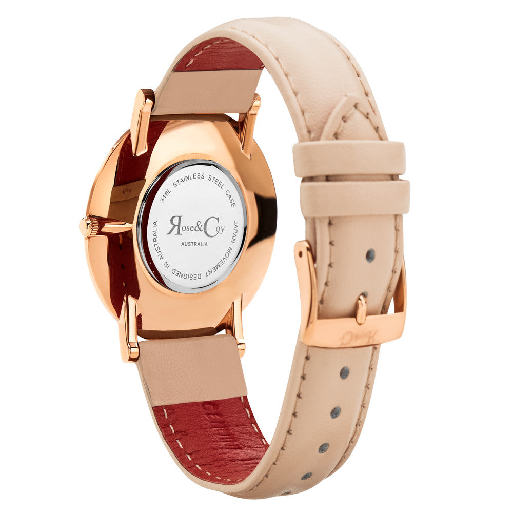 Pinnacle Ultra Slim 40mm Rose Gold | Peach Leather Watch