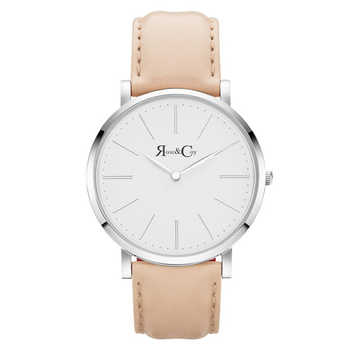 Pinnacle Ultra Slim 40mm Silver | Peach Leather Watch