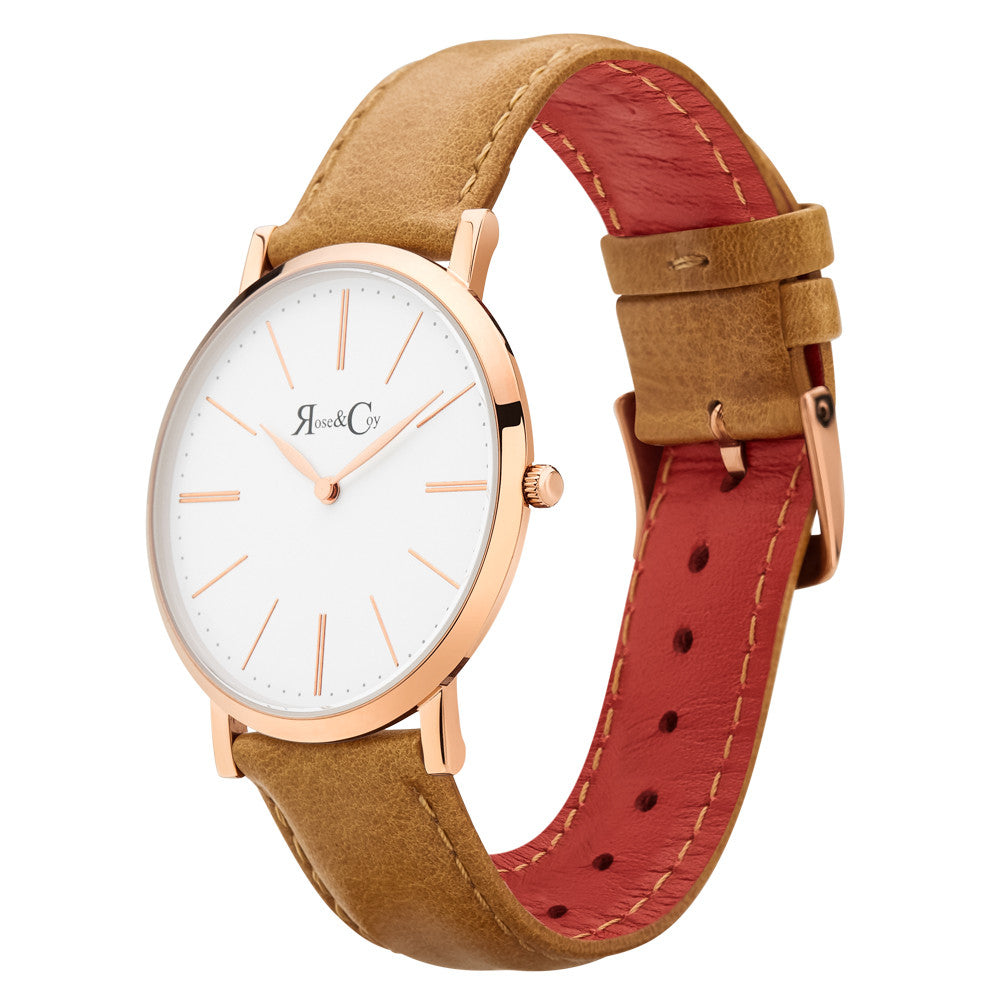 Pinnacle Ultra Slim 40mm Rose Gold | Tan Leather Watch