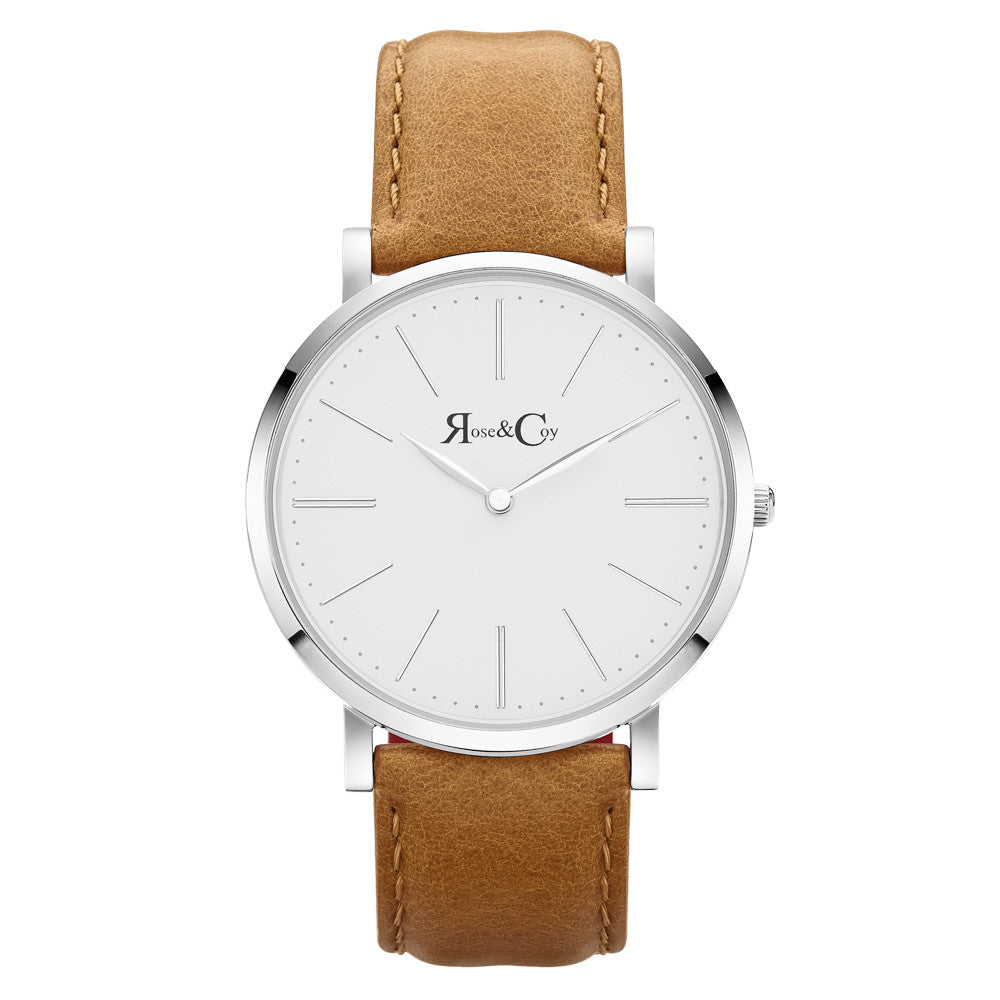 Pinnacle Ultra Slim 40mm Silver | Tan Leather Watch