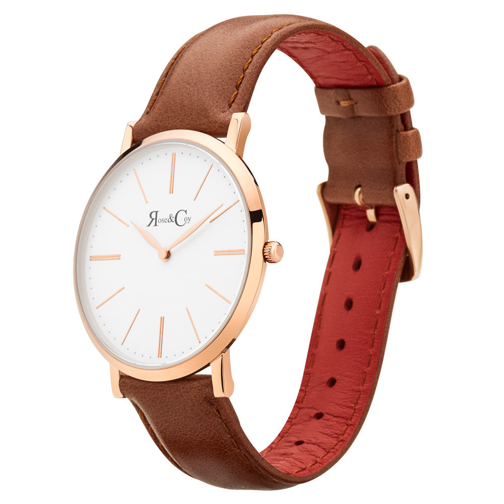 Pinnacle Ultra Slim 40mm Rose Gold | Brown Leather Watch