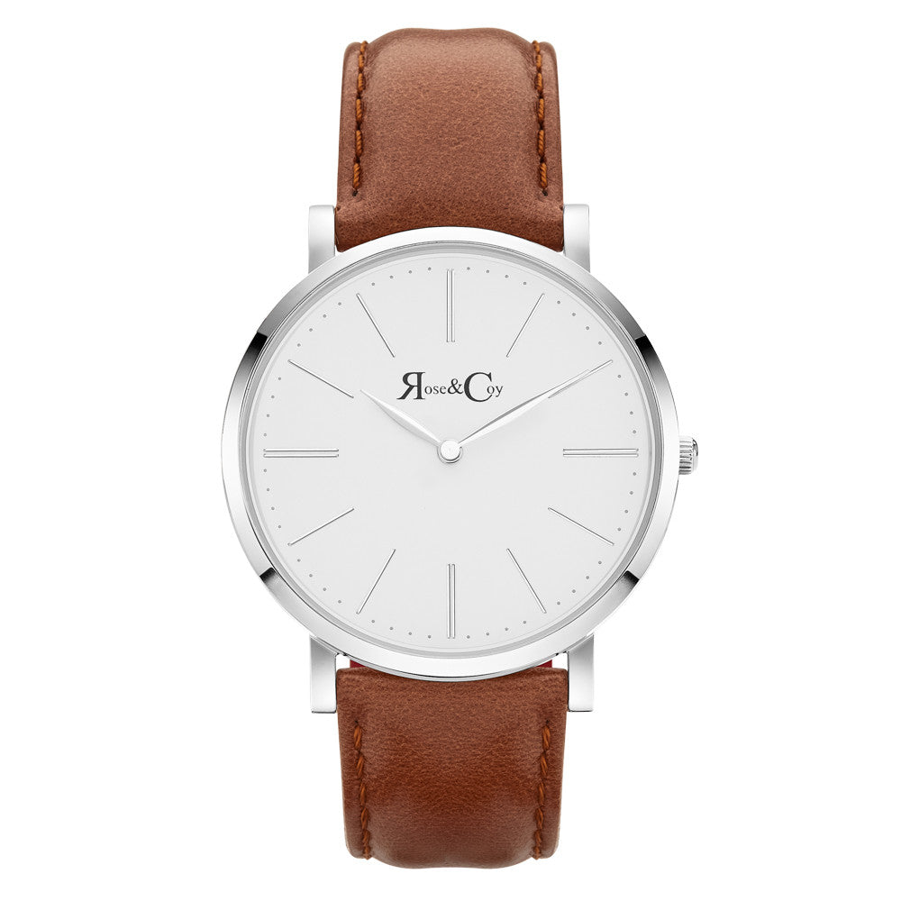 Pinnacle Ultra Slim 40mm Silver | Brown Leather Watch