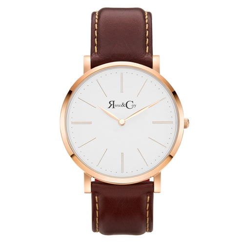 Pinnacle Ultra Slim 40mm Rose Gold | Dark Brown Leather Watch