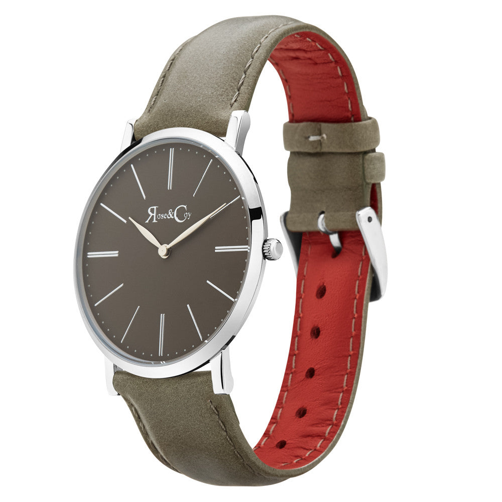 Pinnacle Ultra Slim 40mm Silver | Sage Dial | Sage Leather Strap Watch