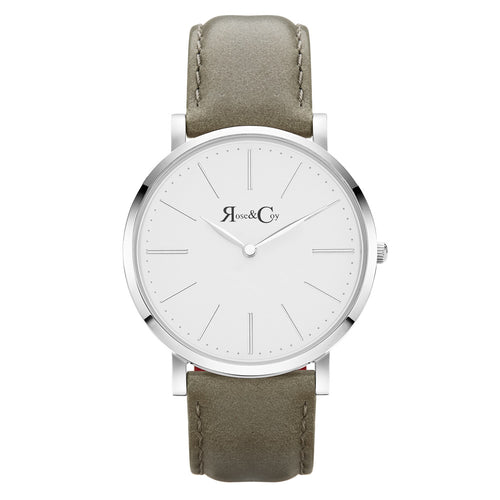 Pinnacle Ultra Slim 40mm Silver | Sage Leather Watch