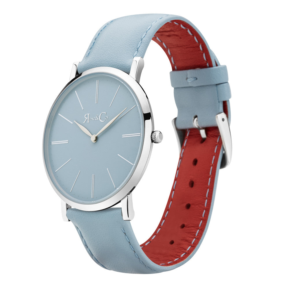 Pinnacle Ultra Slim 40mm Silver | Sky Blue Watch