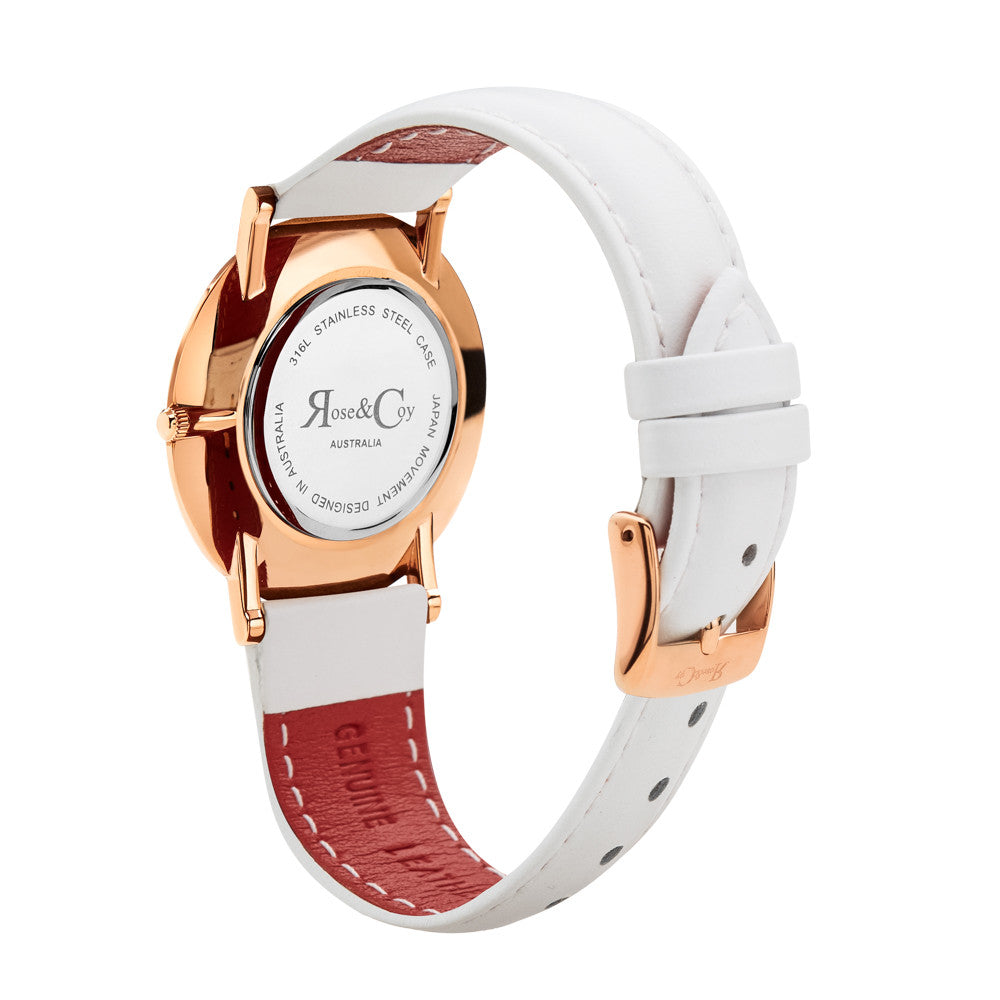 Mini Pinnacle Ultra Slim 34mm Rose Gold | White Leather Watch