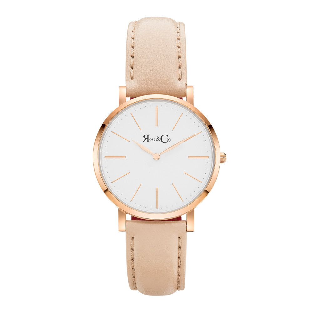 Mini Pinnacle Ultra Slim 34mm Rose Gold | Peach Leather Watch