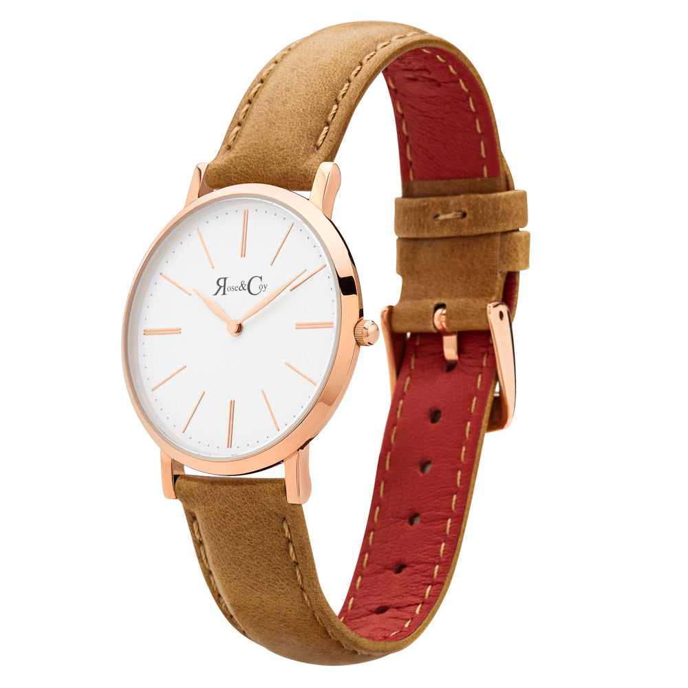 Mini Pinnacle Ultra Slim 34mm Rose Gold | Tan Leather Watch