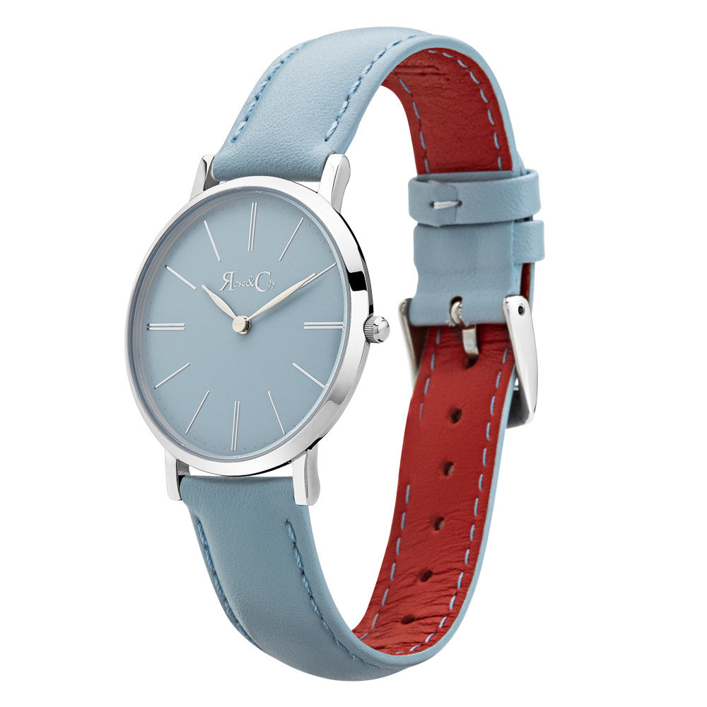 Mini Pinnacle Ultra Slim 34mm Silver | Sky Blue Watch