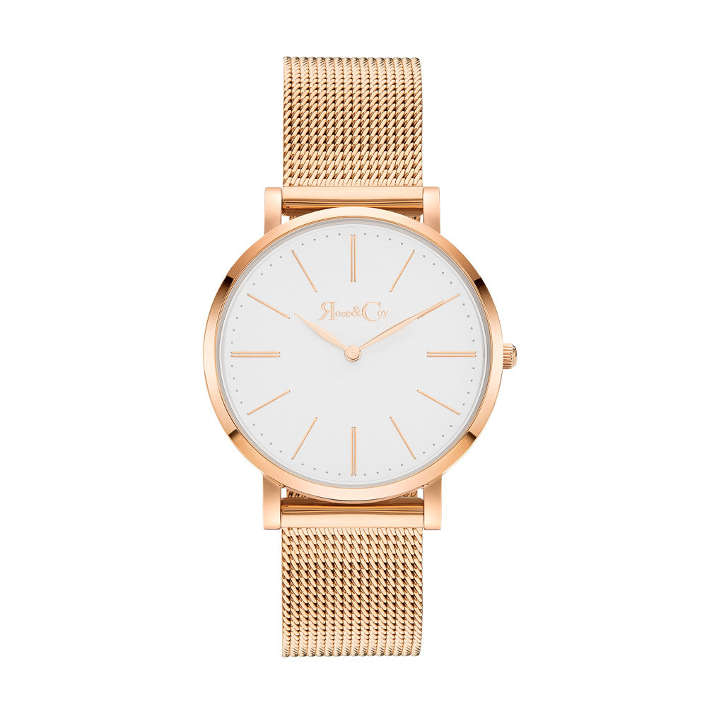Mini Pinnacle Ultra Slim 34mm Rose Gold | Mesh Strap Watch