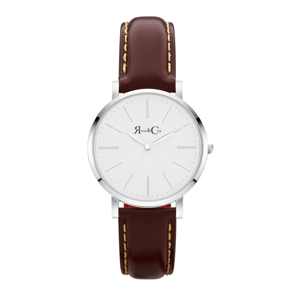 Mini Pinnacle Ultra Slim 34m Silver | Dark Brown Watch
