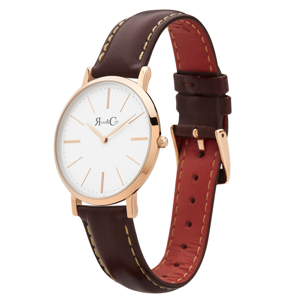 Mini Pinnacle Ultra Slim 34mm Rose Gold | Dark Brown Watch