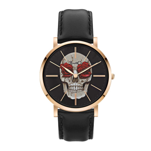Art Series Skull & Rose Ultra Slim 40mm Rose Gold Watch