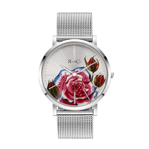 Art Series Pink Rose Ultra Slim 40mm Silver Mesh Watch