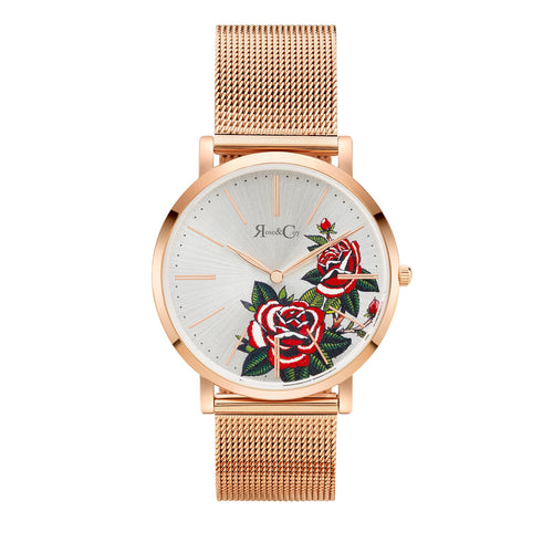 Art Series Golden Red Rose Ultra Slim 40mm Rose Gold | Mesh Strap Watch