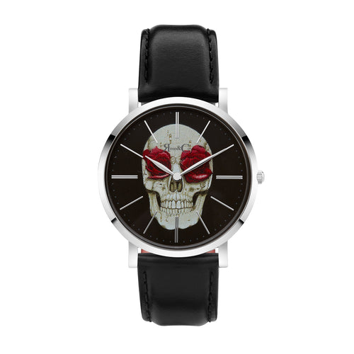 Art Series Skull & Rose Ultra Slim 40mm | Silver Watch