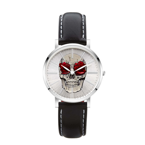 Art Series Skull & Rose Ultra Slim 34mm Silver | Black Watch