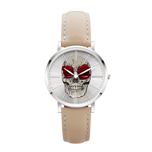 Art Series Skull & Rose Ultra Slim 34mm Silver | Peach Watch
