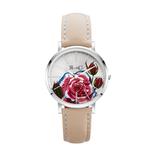 Art Series Pink Rose Ultra Slim 34mm Silver | Peach Watch