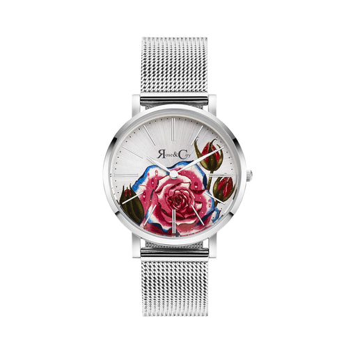 Art Series Pink Rose Ultra Slim 34mm Silver Mesh Watch