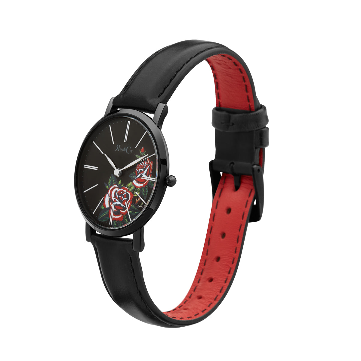 Midnight Red Rose Ultra Slim 34mm Black Watch