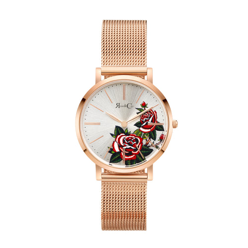 Art Series Golden Red Rose Ultra Slim 34mm Rose Gold | Mesh Strap Watch