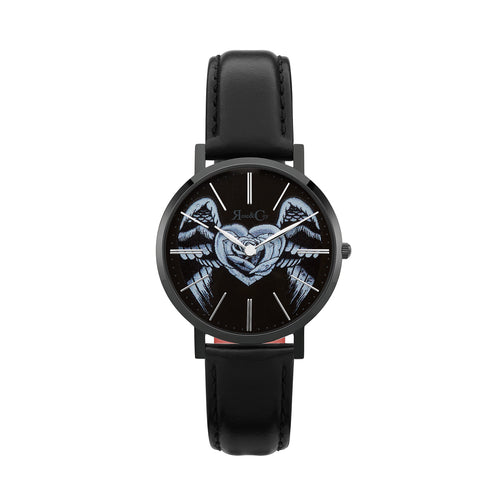 Midnight Winged Rose Heart Ultra Slim 34mm | Black Watch