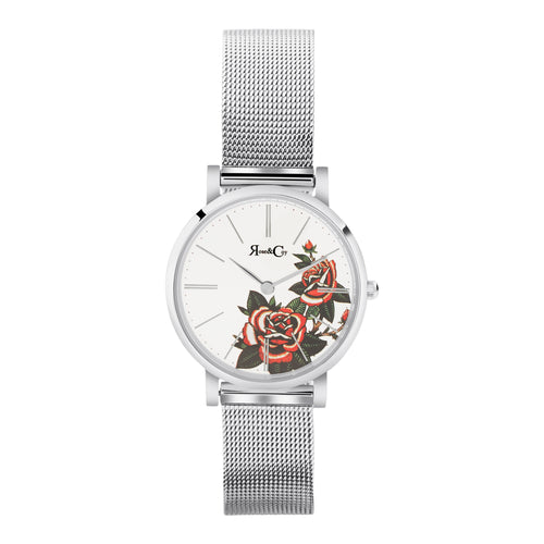 Art Series Pink Rose Ultra Slim 30mm Silver Mesh Watch