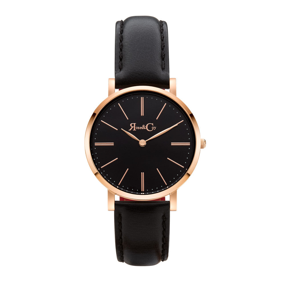Mini Pinnacle Ultra Slim 34mm Rose Gold | Black Leather Strap | Black Dial Watch